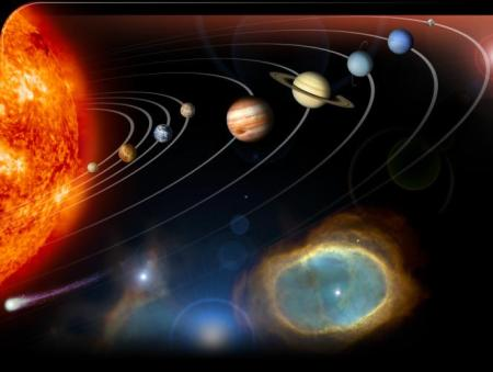 The old view of the Solar System - sun with 9 planets!
