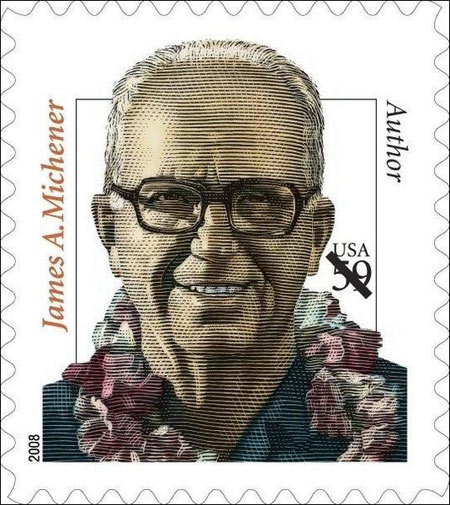 A postage stamp with Michener's face facing us smiling. Wearing bUsh shirt, spectacles and a  flowery garland.